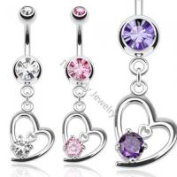 Buy cheap Brass Zircon Jeweled Heart Pendant Belly Navel Rings from wholesalers