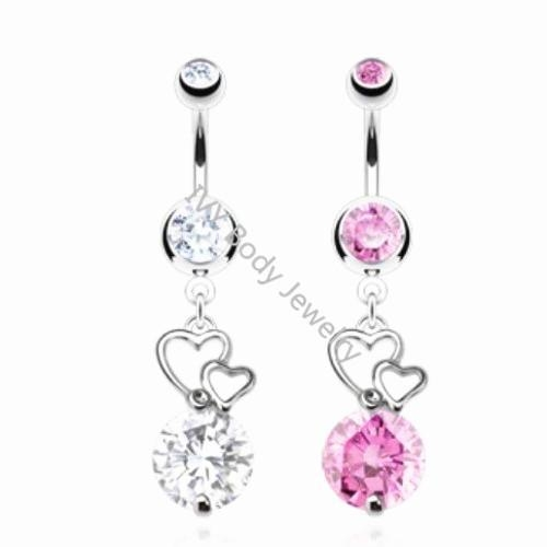 China Double Heart With Zircon Belly Piercing Navel Bars