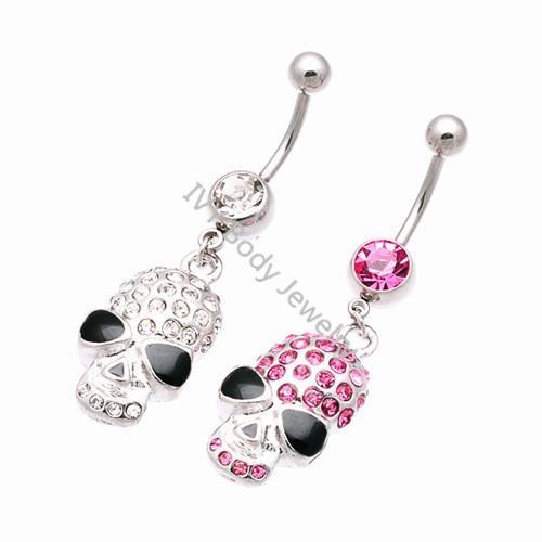 China Unique Crystal Skull Dangle Belly Piercing Rings