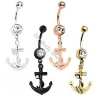 Best Anodized Anchor Designed Crystal Belly Button Ring wholesale