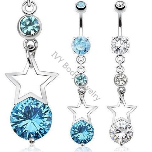 China Zircon Star Dangle Belly Piercing Rings