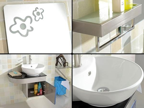 Cheap Stainless Steel Cabinet Integrated Sink Bathroom