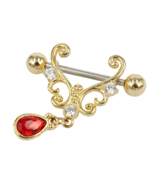 China Exotic Princess nipple bar in gold color with clear and ruby gems