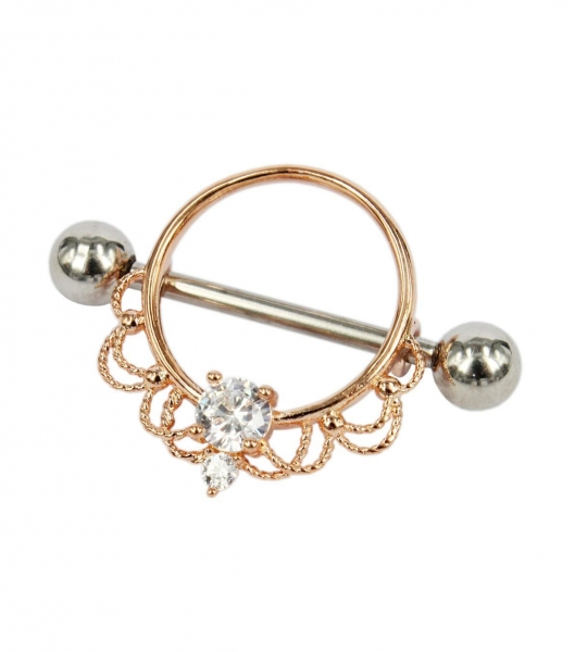 China Love & Beauty Nipple shield in rose gold with clear gem