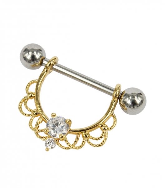 China Love & Beauty Nipple bar in rose gold with clear gem
