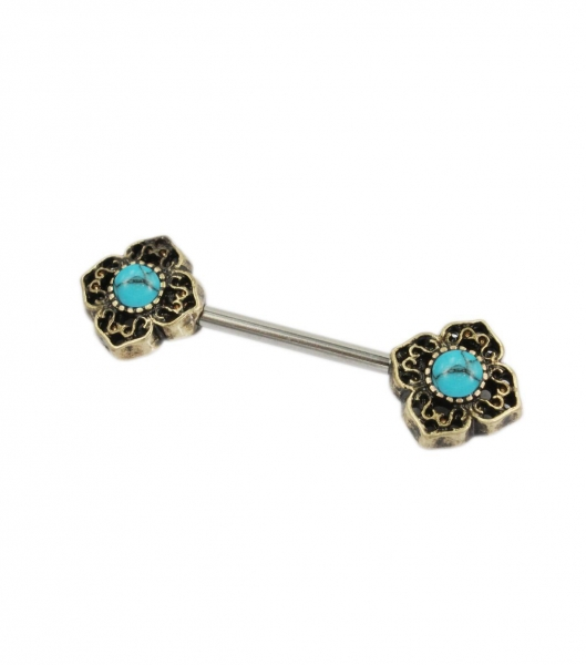 China Antique gold flower nipple ring with turquoise stones