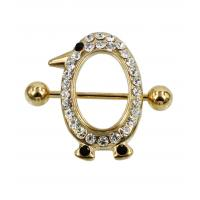 Buy cheap Czech stone gem penguin charm with PVD gold over surgical steel nipple shield from wholesalers