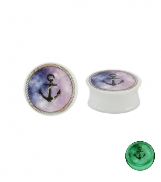 China Glow-in-the-dark acrylic plug with anchor and stary sky