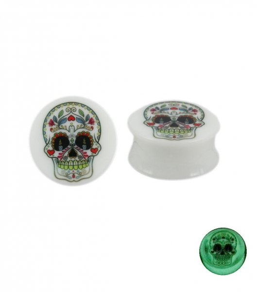 China Glow-in-the-dark acrylic plug with flower decorated skull