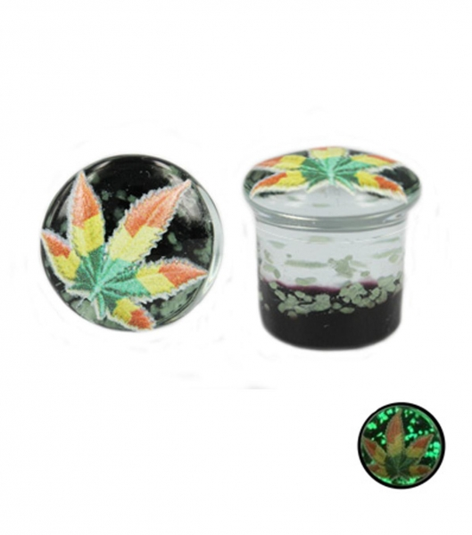 China Glow-in-the-dark glass plug with maple leaf
