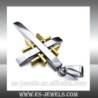 China Factory Wholesale Gold Color Cross Pendant Necklace Jewelry ESYB140 on sale