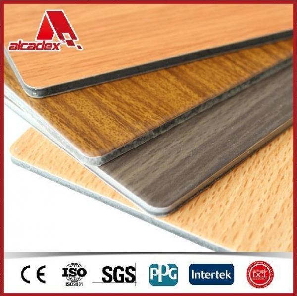 Surface Applied Aluminum Composite Panel : Details of wood coating surface wall cladding aluminum