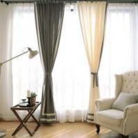 Buy cheap 100% Linen Cotton Window Curtains , Country Style Grey And White Curtains from wholesalers