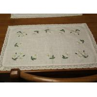 Best Embroidered Patchwork White Cotton Tablecloths Rectangular With Logo Customized wholesale