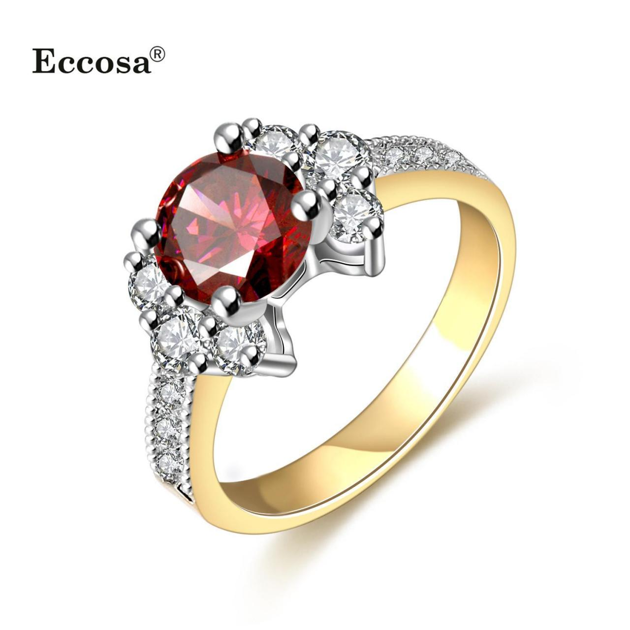 China ECCOSA 316l stainless steel rings with diamond,gold engagement crystal rings,dubai wedding rings on sale