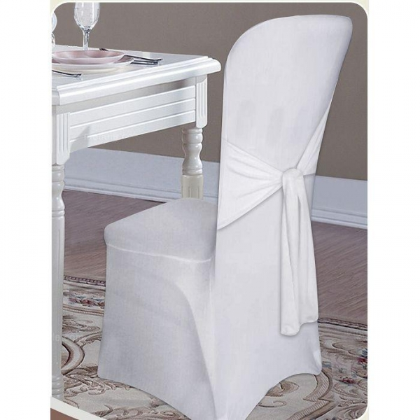 China Plain Cotton Solid Or Printed Chair Cover With Tie Back