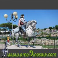 Best Life size colorful cartoon statue of soldier on a horse for park wholesale
