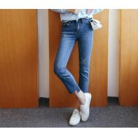 Best Ladies Middle-Waist Fitted Straight Angled Hem Jean Pants wholesale