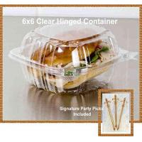 Best Pack of 100 Small Clear Plastic Hinged Food Container 6x6 for Sandwich Salad Party Favor Cake Piece wholesale