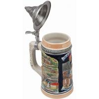 Best Germany Munich Stoneware Raised Relief Beer Stein with Pewter Lid wholesale