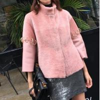 Best Women Shearling Lamb Wool Pink Coat Ladies Winter Short Coat in Stand Collar Sleeves with Becket wholesale