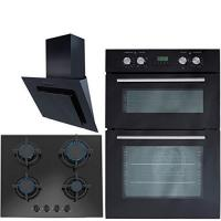 China SIA Built In Electric Double Oven, 60cm Angled Cooker Hood & 60cm Black Gas Hob on sale