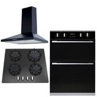 China SIA 60cm Built In Electric Double Oven, Black Gas Hob & Chimney Cooker Hood on sale