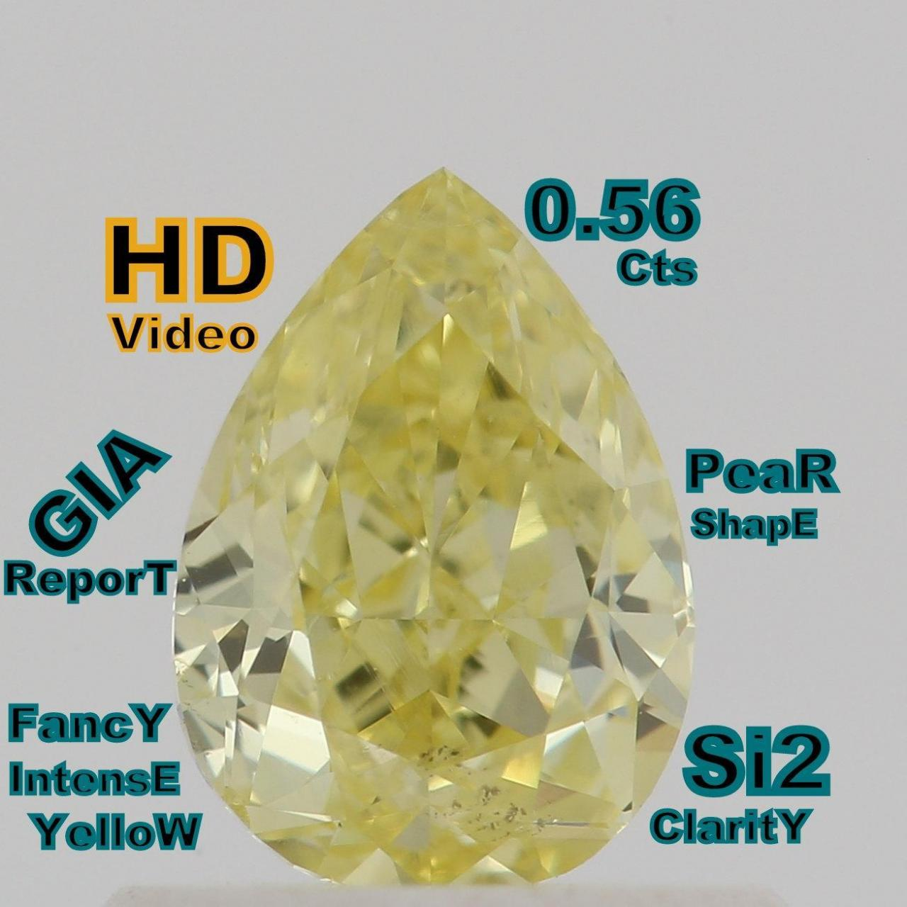 Best GIA CERTIFIED 0.56 Cts Natural Intense Yellow Color Pear Shape Loose Diamond L4706 wholesale