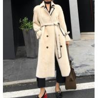 Best Women Shearling Lamb Wool Coat Cream-coloured With Waistband Ladies Winter Long Coat Double-Breasted wholesale