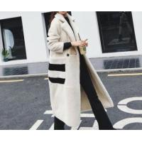 Best USA Style Women Shearling Lamb Wool Coat Cream-Colored Ladies Winter Long Coat Show Temperament Fash wholesale