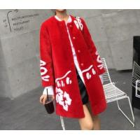 Best Women Red Shearling Lamb Wool Coat Without Collar Contrast Color Hem And Shoulder With White Wool Fl wholesale