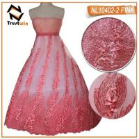 Buy cheap Handmade tulle lace beaded 3d flowers lace for elegant dress from wholesalers