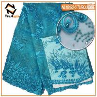 Buy cheap lace fabric  beaded tulle lace dress fabric with stones from wholesalers