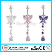 China Butterfly with One Drop CZ Dangle Diamond Belly Button Ring on sale