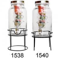 Buy cheap 1.5 Gallon Lead Free Glass Fruit Infuser Water Bottle With Black Rack from wholesalers