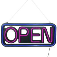 Rectangle 20''x 10'' Blue/Pink Neon LED Open Sign