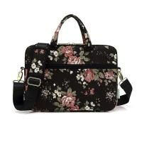 Best Woman Rose Canvas Fabric Laptop Bag For 15.6 inch Macbook With Padded Shoulder wholesale